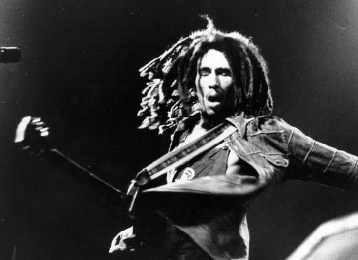 Bob Marley (1945 - 1981) the Jamaican born singer, guitarist and composer in concert.