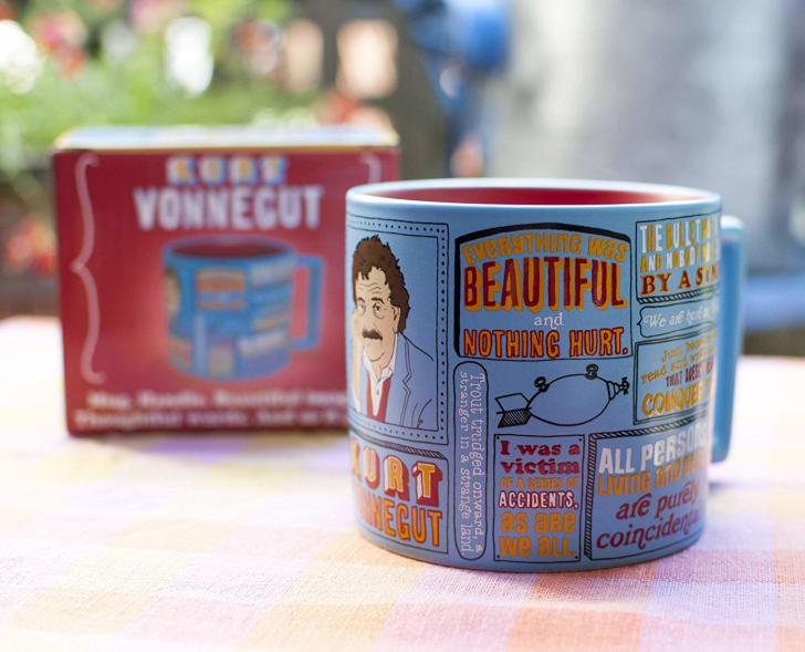 A mug with Kurt Vonnegut quotes