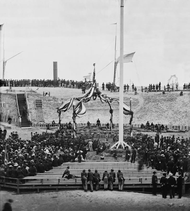 Raising the flag over Fort Sumter.