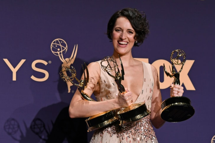 'Fleabag' creator/star Phoebe Waller-Bridge poses with her many Emmy Awards in 2019