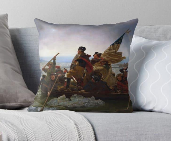 Washington Crossing the Delaware pillow on Redbubble.