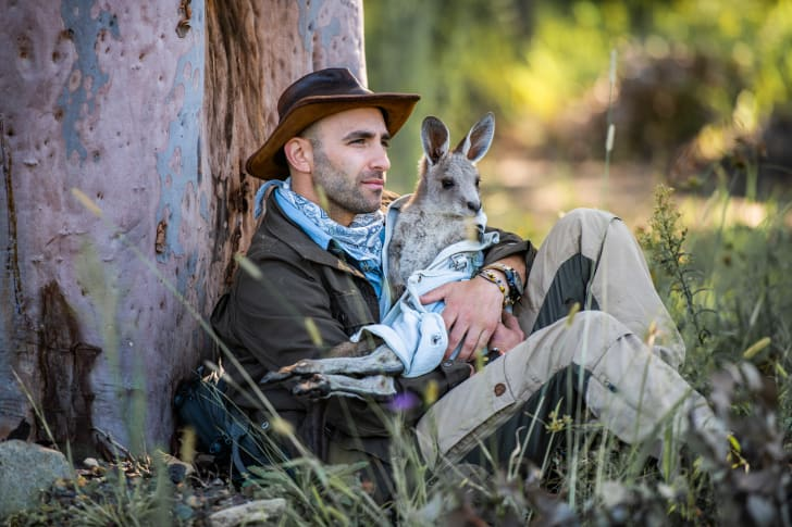 Coyote Peterson with a kangaroo
