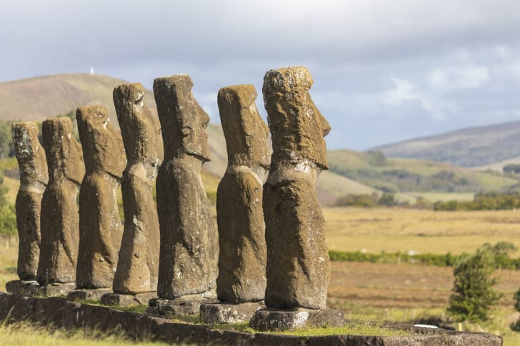 Seven Moai gaze face toward the horizon