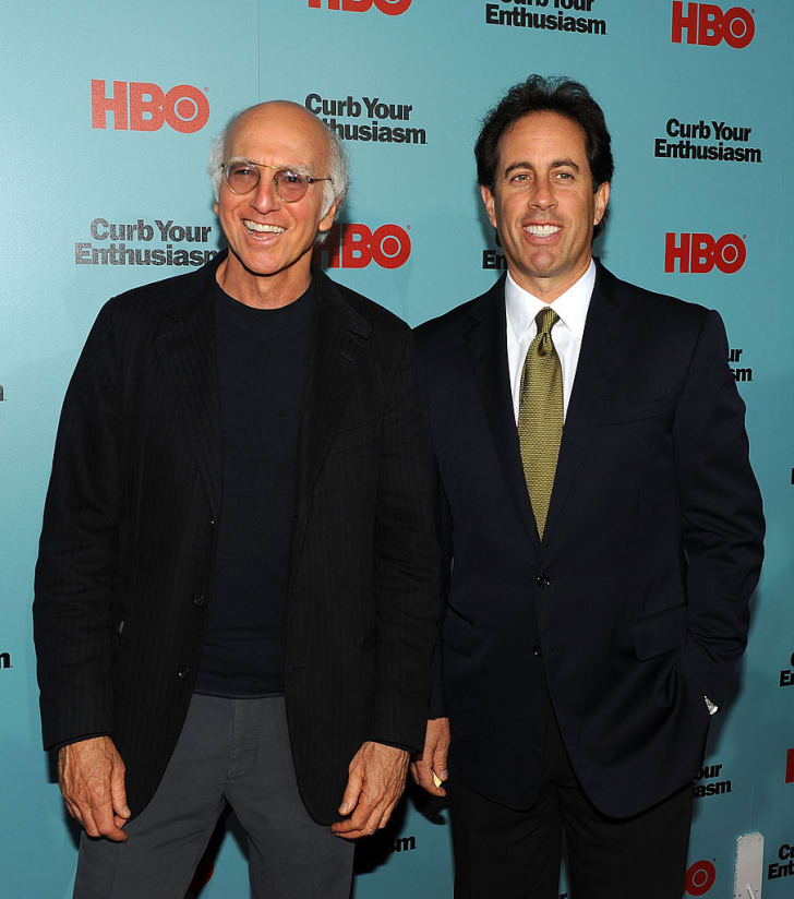 "Larry David and Jerry Seinfeld attend HBO's screening of ""Curb Your Enthusiasm"" at Time Warner Screening Room on September 30, 2009 in New York City"