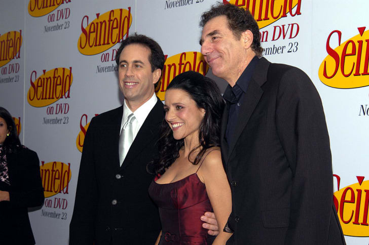 "Comedian Jerry Seinfeld, actress Julia Louise-Dreyfus, and actor Michael Richards attend the DVD Release Party for the first three seasons of ""Seinfeld"" held on November 17, 2004 at the Rainbow Room in Rockefeller Center, New York City"