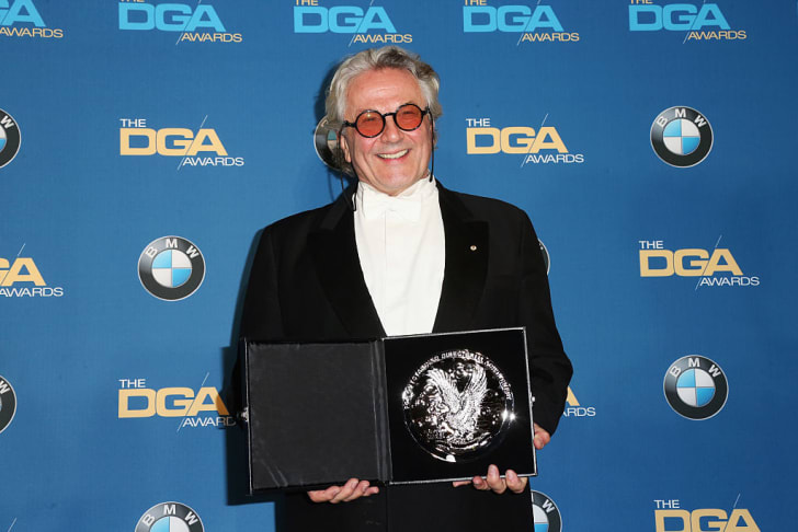 "Director George Miller, recipient of the Feature Film Nomination Plaque for ""Mad Max: Fury Road,"" poses in the press room during the 68th Annual Directors Guild Of America Awards at the Hyatt Regency Century Plaza on February 6, 2016 in Los Angeles"