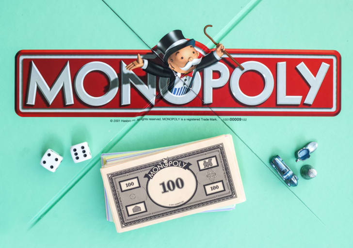 The Monopoly Man on the game board