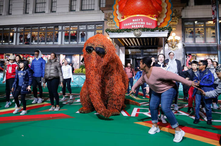 Mr. Snuffleupagus and the National Dance Institute during the 93rd Annual Macy's Thanksgiving Day Parade rehearsals at Macy's Herald Square on November 25, 2019 in New York City
