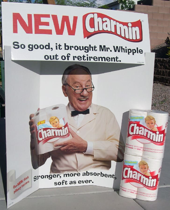 A Charmin promotional display featuring Mr. Whipple
