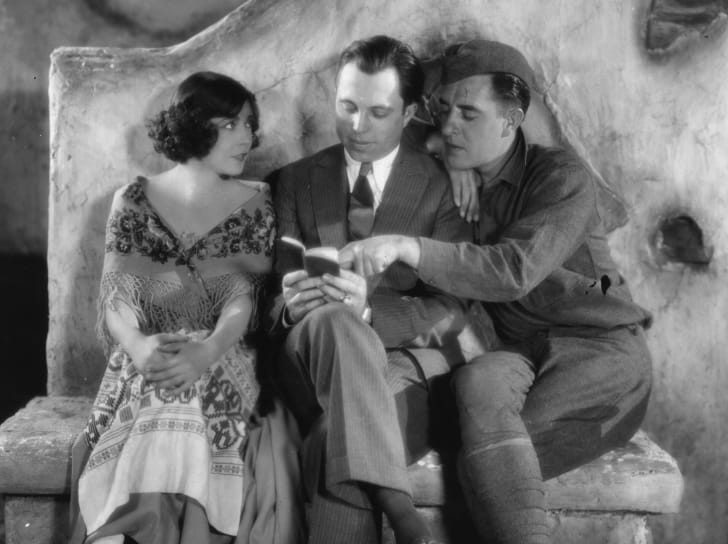 'The Big Parade' stars Renee Adoree and John Gilbert working with director King Vidor.