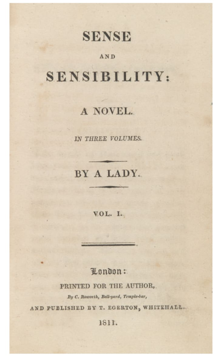 First-edition of Sense and Sensibility by Jane Austen.