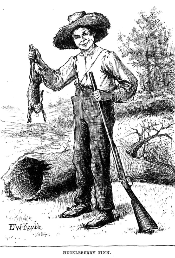Drawing of Huckleberry Finn with a rabbit and a gun, from the original 1884 edition of the book