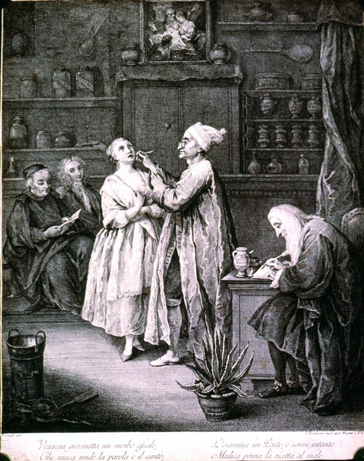18th century illustration of a woman getting her throat examined in a pharmacy
