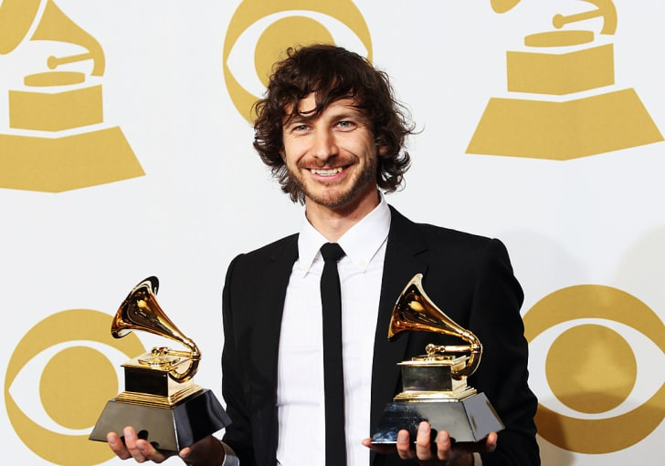 "Musician Gotye, winner Best Alternative Music Album for ""Making Mirrors"" and Best Pop Duo/Group Performance for ""Somebody That I Used To Know"", poses in the press room at the 55th Annual GRAMMY Awards at Staples Center on February 10, 2013 in Los Angeles,"