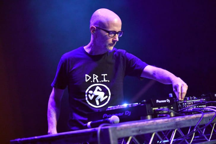 Moby performs onstage during The Last Weekend Kickoff LA Presented by Swing Left at The Palace Theatre on November 1, 2018 in Los Angeles, California