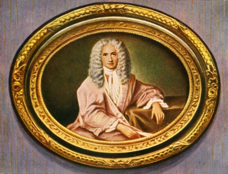 Portrait of French writer, essayist and philosopher Francois Marie Arouet de Voltaire (1694-1778), author of