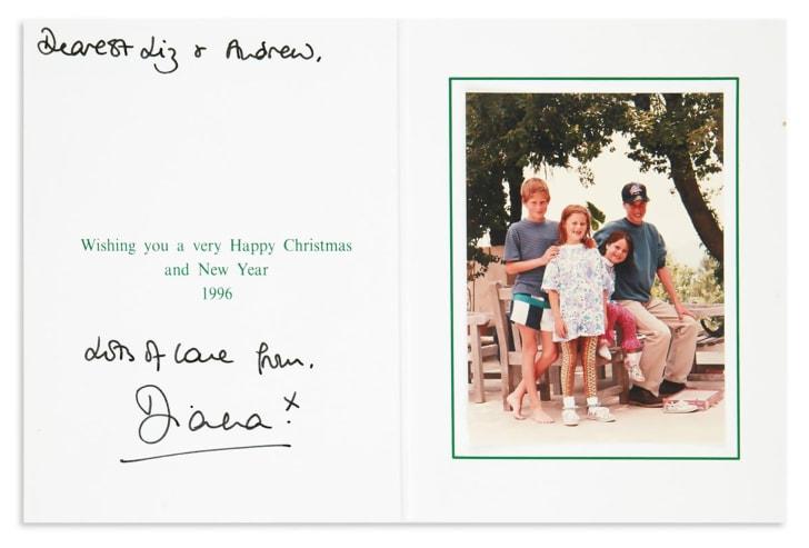 princess diana christmas card from 1996
