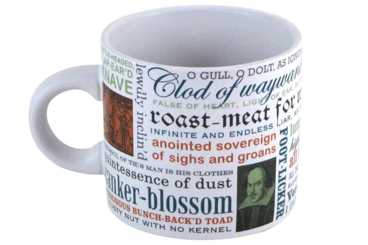 A mug decorated with Shakespeare insults.