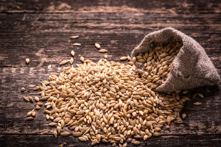 Barley on a wooden table