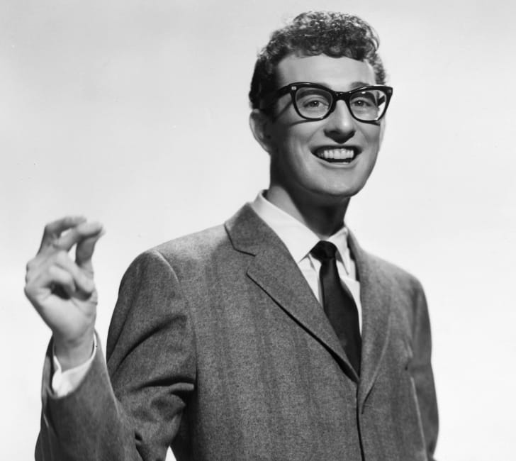 Buddy Holly in his signature glasses