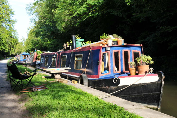 A photo of a house boat.