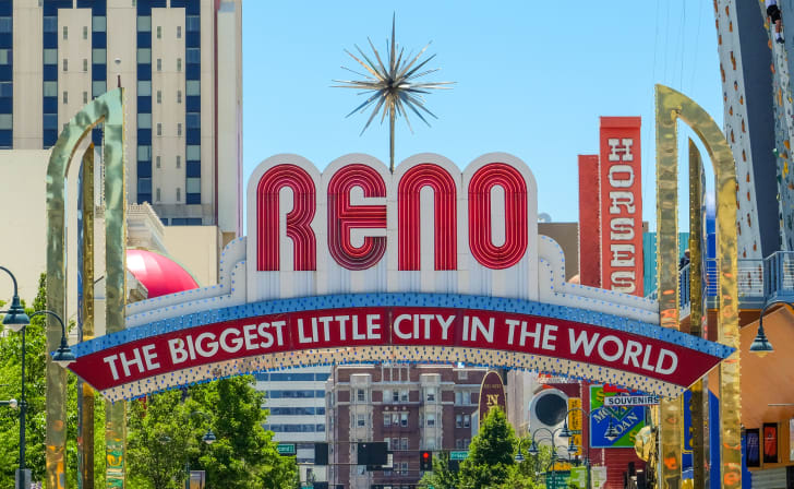 A welcome sign in Reno, Nevada.