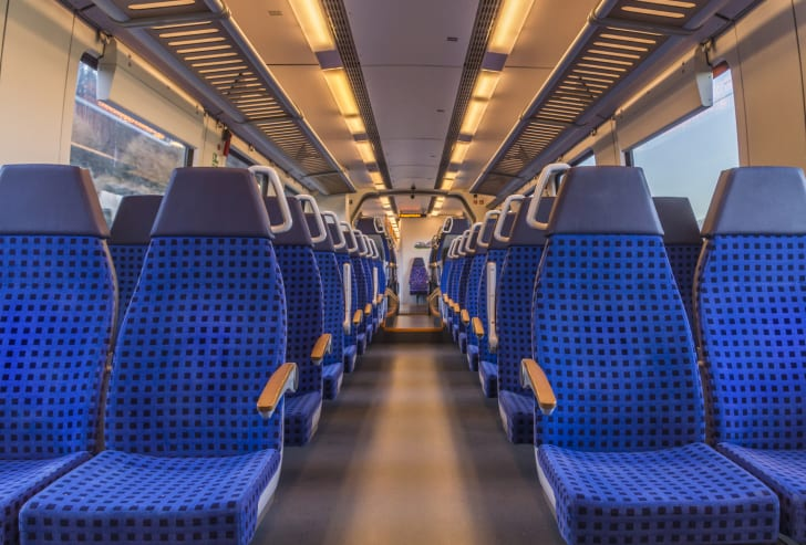 Seats on a train.