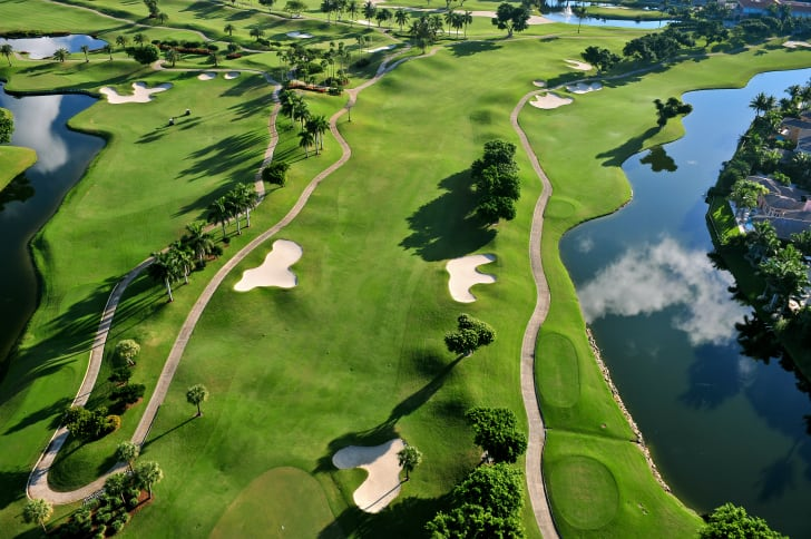 Aerial view of scenic golf course