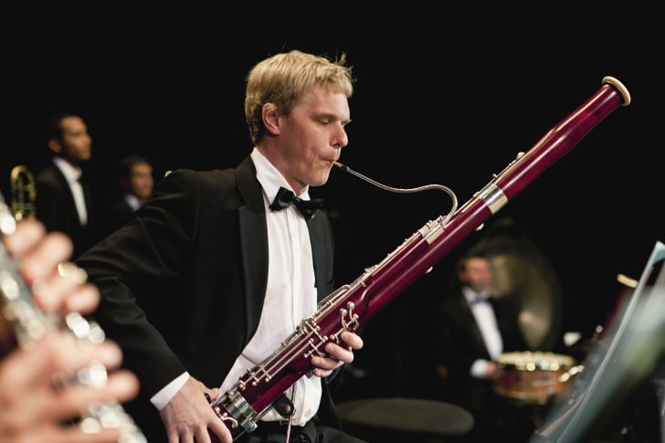 Bassoon player in orchestra