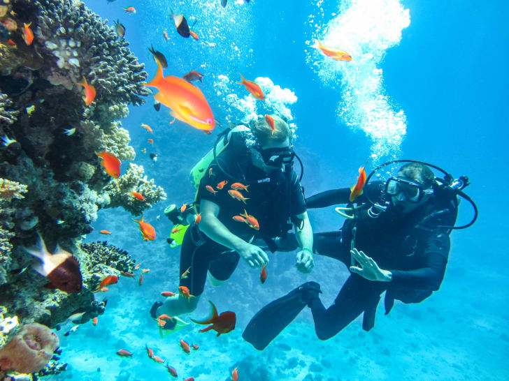 Diving instructor and his student swimming near a coral reef
