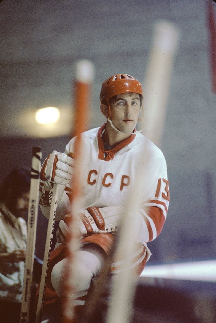 Boris Mikhailov #13 of the Soviet Union sits on the boards during Game 1 of the 1972 Summit Series against Canada on September 2, 1972 at the Montreal Forum in Montreal, Quebec, Canada