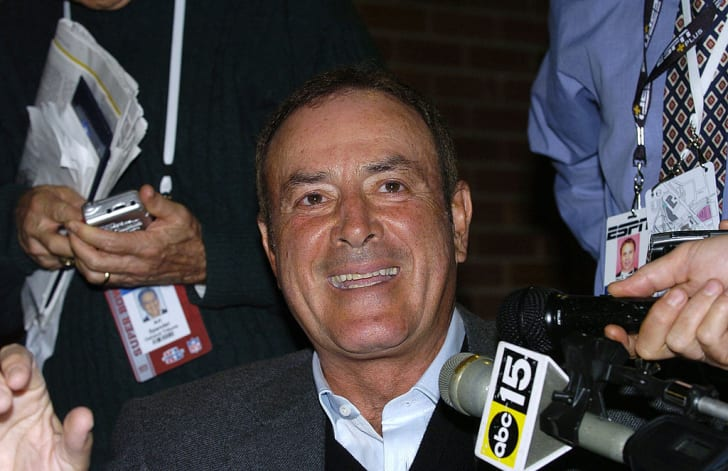 Al Michaels speaks at media day for Super Bowl XL at Ford Field in Detroit, Michigan on January 31, 2006