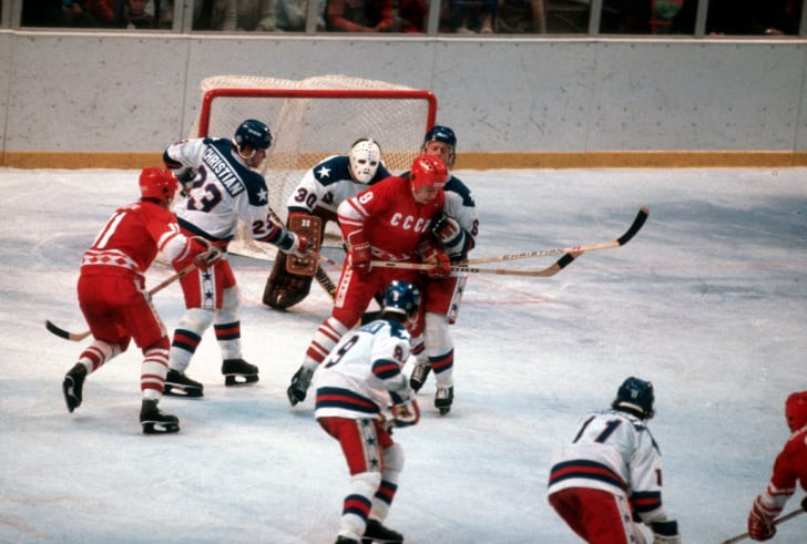 The United States Hockey team competes against the Soviet Union hockey team during a metal round game of the Winter Olympics February 22, 1980 at the Olympic Center in Lake Placid, New York