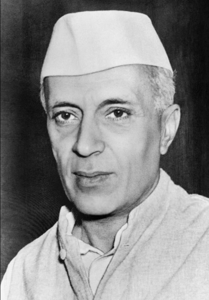 A black and white headshot of Jawaharlal Nehru
