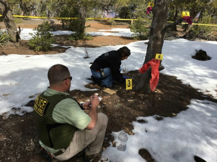 A National Park Service Investigative Services Branch Special Agent examines a crime scene