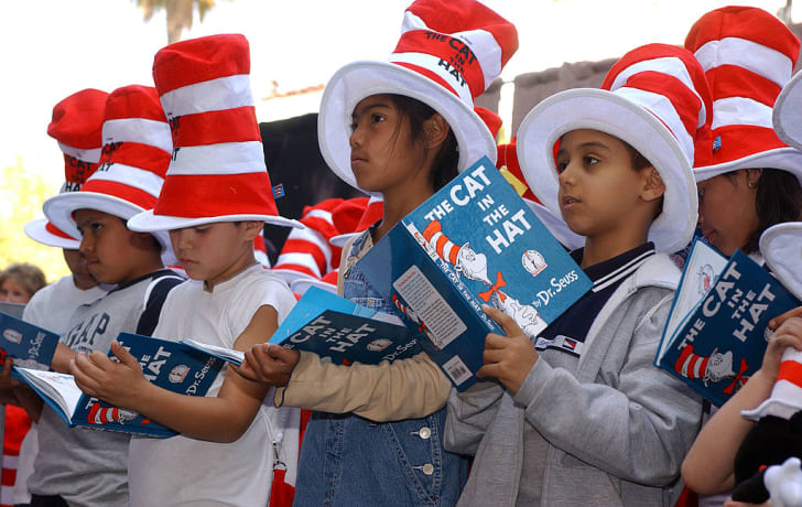 Children read from 'The Cat in the Hat' at a ceremony honoring Dr. Seuss's star on the Hollywood Walk of Fame.