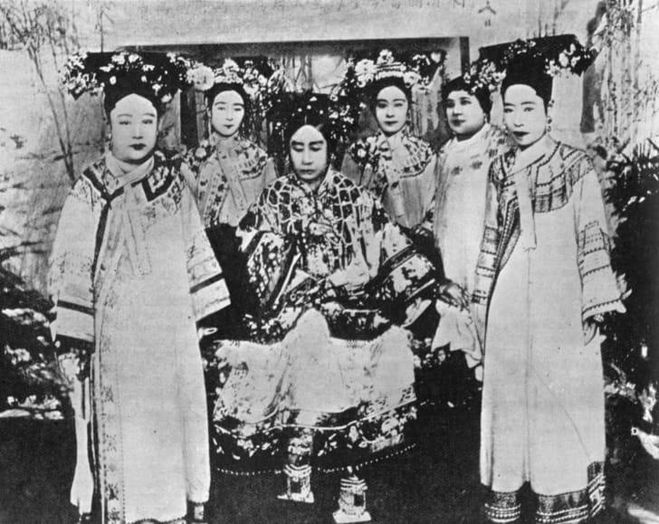 Empress Cixi with ladies of the court, circa 1904.