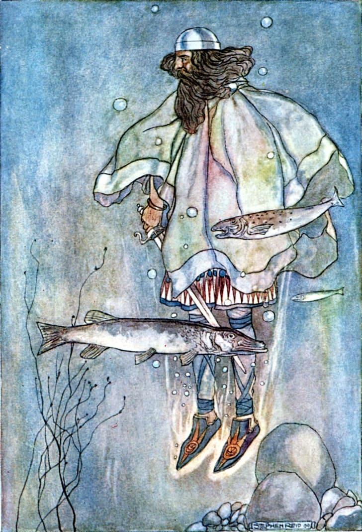 Illustration of a heavily bearded man underwater
