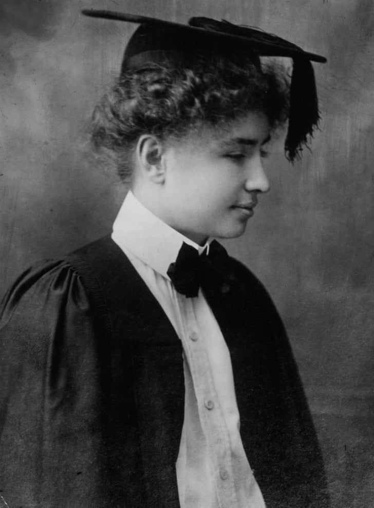 Helen Keller is pictured on the day of her graduation from Radcliffe College in 1904