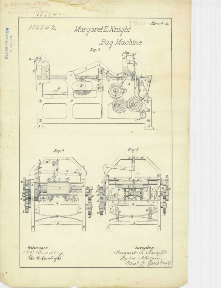 A patent drawing for Margaret E. Knight's paper bag machine is pictured