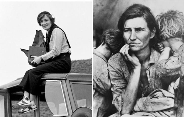 Photographer Dorothea Lange (L) is pictured next to her photo, 'Migrant Mother'