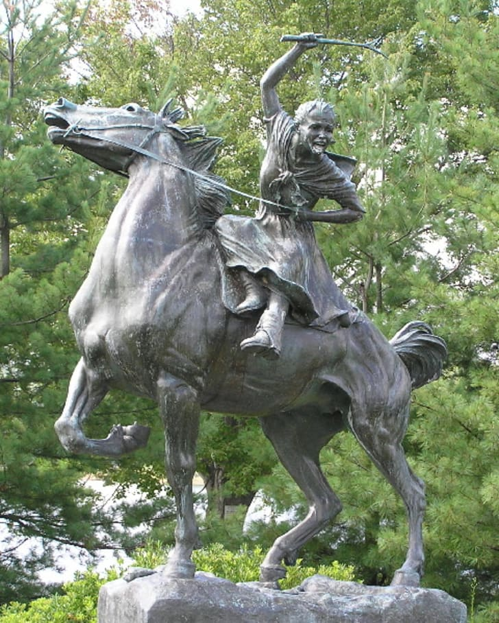 Statue of a woman on horseback
