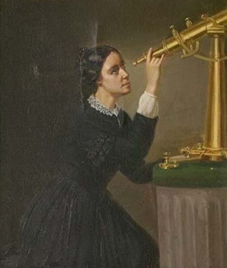 Painting of a woman looking through a golden telescope