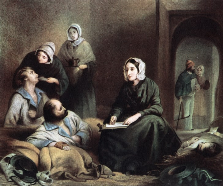 Painting of a female nurse tending to ill men