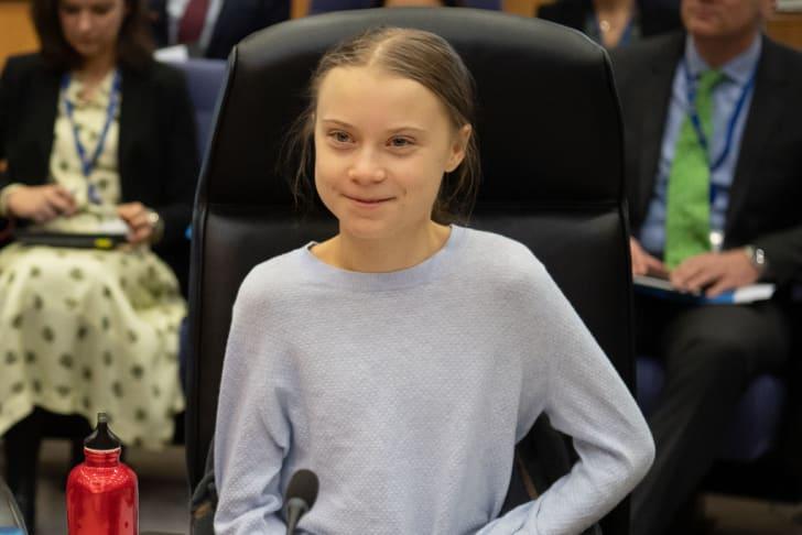 A photo of Greta Thunberg.