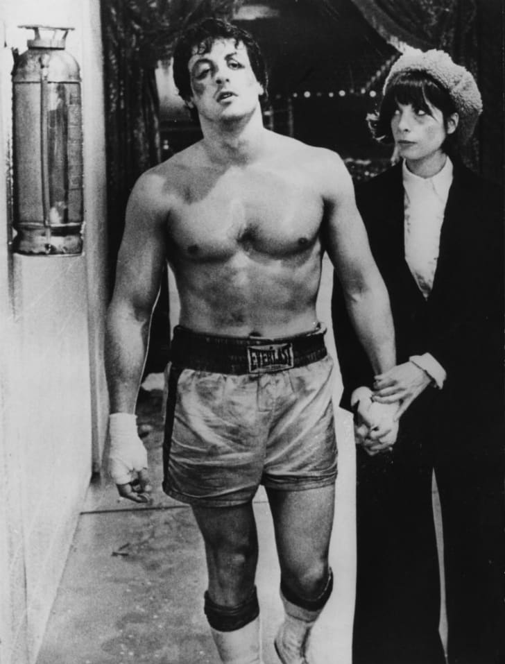 Sylvester Stallone and Talia Shire are pictured in a publicity still for 1976's 'Rocky'