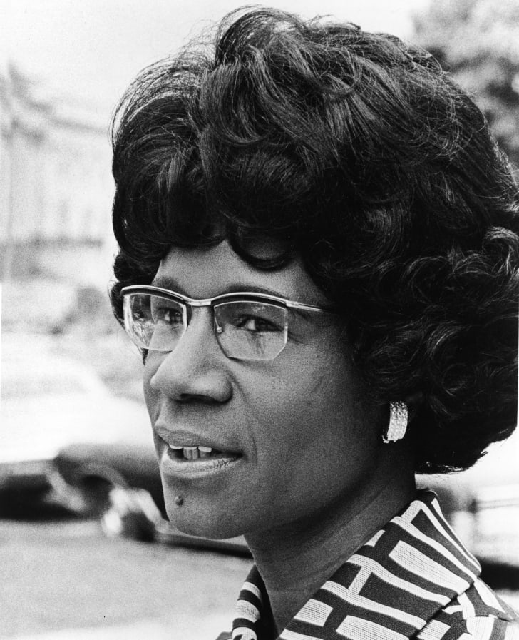 A headshot of African American educator and U.S. Congresswoman Shirley Chisholm, 1973. Chisholm was the first black woman elected to the U.S. Congress and the first woman to run for president in 1971
