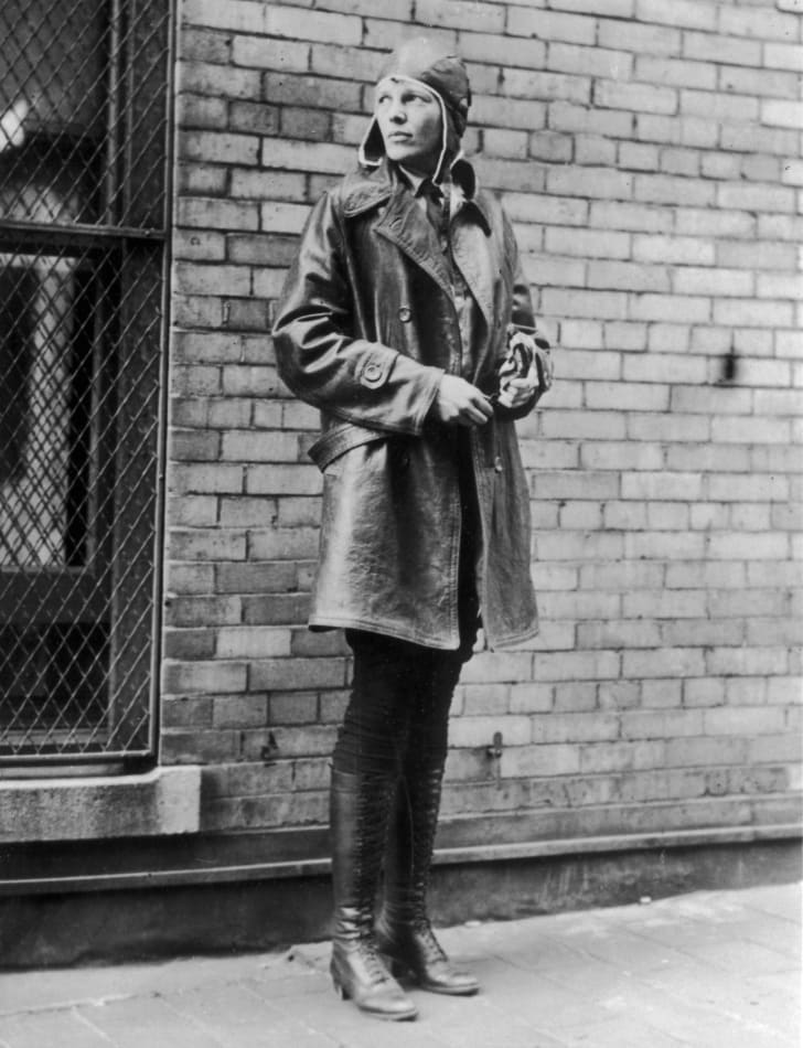 Aviatrix Amelia Earhart (1898 - 1937) in Newfoundland. Noted for her flights across the Atlantic and Pacific oceans, Earhart disappeared without trace in her attempt to fly around the world