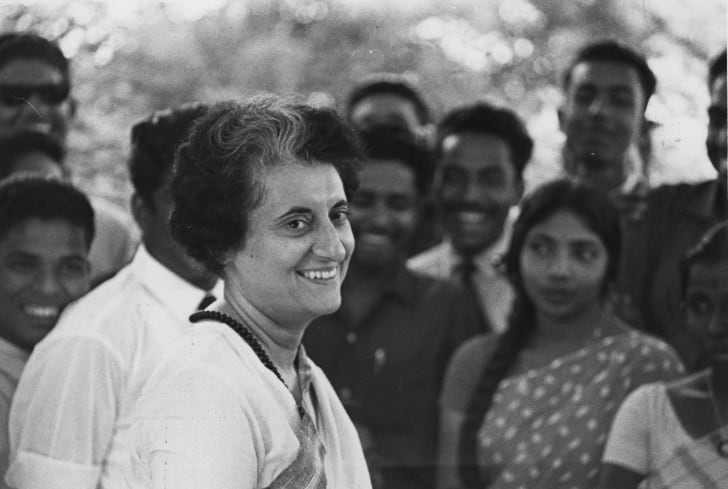 Mrs Indira Gandhi (born Indira Priyardarshini Nehru, 1917 - 1984), prime minister of India.