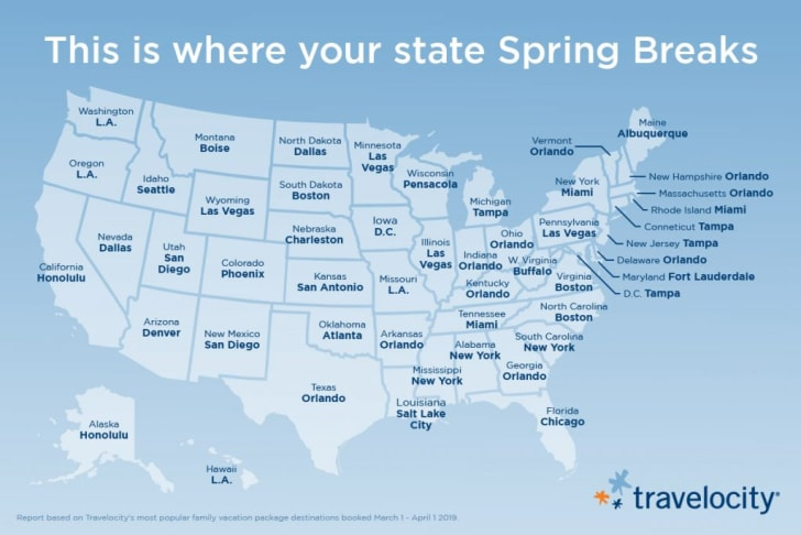 Map of top spring break destinations.